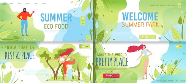 Set di pagine di destinazione estiva che offre prodotti per il riposo e l'eco