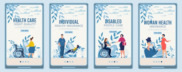Set di pagine di destinazione mobile che offre assistenza medica