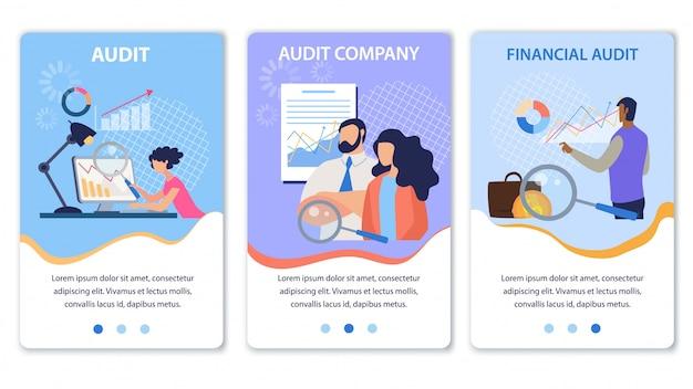 Set di pagine di destinazione mobile che offre audit finanziario