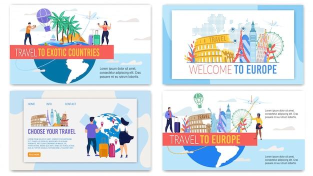 Set di pagine di destinazione offerta tour di viaggio in qualsiasi paese