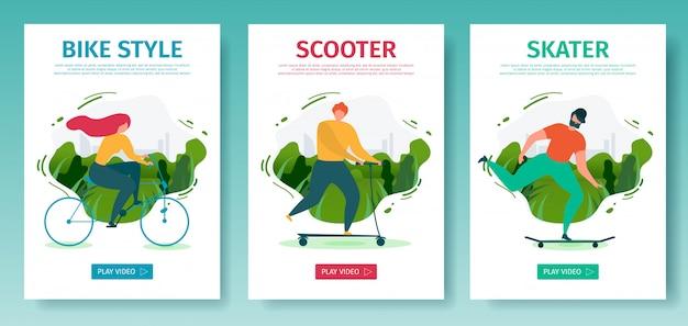 Set di pagine di destinazione per app per dispositivi mobili offre attività all'aperto con uso di trasporto ecologico