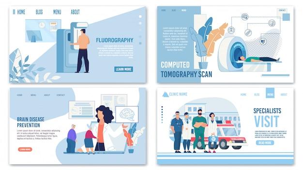 Set di pagine di destinazione per assicurazioni mediche e assistenza sanitaria