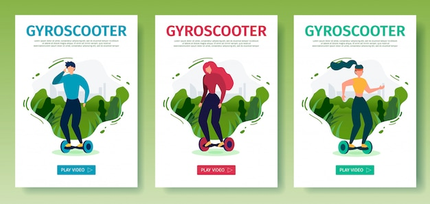Set di pagine di destinazione per dispositivi mobili gyroscooter da guida