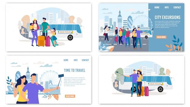 Set di pagine di destinazione piane per escursioni in città