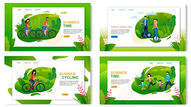 Set di pagine di destinazione pubblicità vacanze estive sane e attive