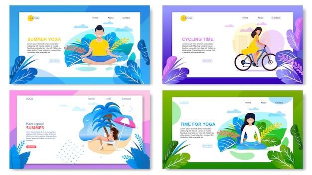 Set di pagine di destinazione pubblicitarie di vacanze estive attive
