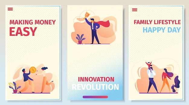Set di pagine per app mobili, affari, relazioni e successo