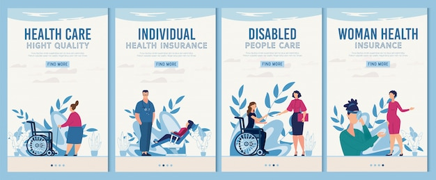 Set di pagine web per dispositivi sanitari e riabilitazione