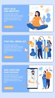 Set di pagine web per i consigli dei futuri genitori