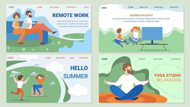Set di pagine web piatte di persone lavoro e tempo libero