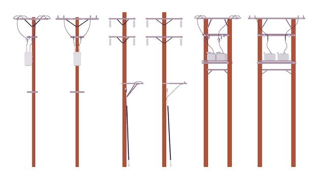 Set di pali elettrici. fili di utilità per la distribuzione di energia elettrica in città, televisione via cavo e telefono. architettura del paesaggio e concetto urbano. illustrazione del fumetto di stile
