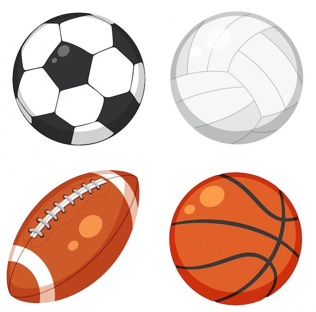 Set di palla su sfondo bianco