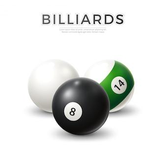 Set di palle da biliardo biliardo realistico biliardo vettoriale