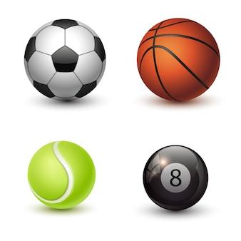 Set di palle di sport isolato su priorità bassa bianca