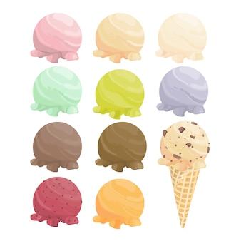 Set di palline di gelato e cono di cialda.