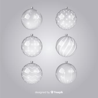 Set di palline di natale trasparente