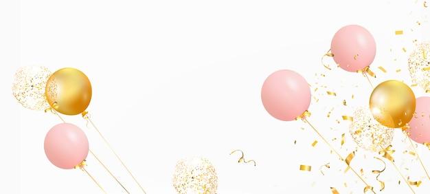 Set di palloncini colorati con coriandoli e spazio vuoto per il testo. festeggia un compleanno, poster, banner buon anniversario. realistici elementi di design decorativo. sfondo festivo con palloncini ad elio