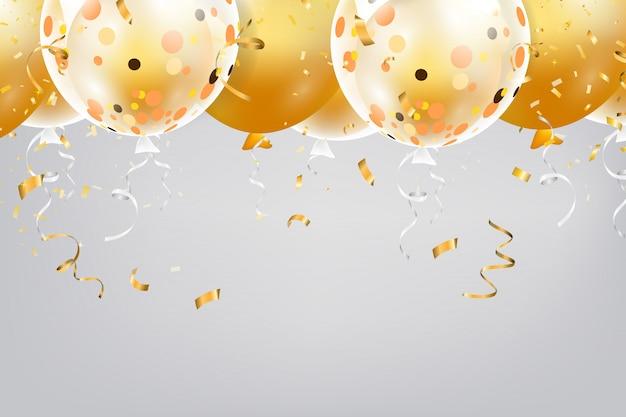 Set di palloncini colorati con coriandoli e spazio vuoto per il testo. sfondo realistico per compleanno, anniversario, matrimonio, banner di congratulazioni per le vacanze.