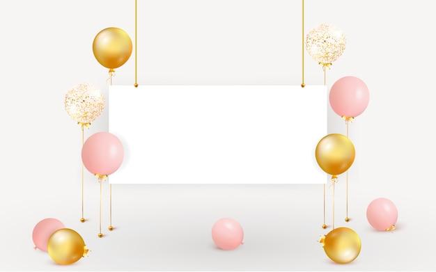 Set di palloncini colorati con spazio vuoto per il testo. festeggia un compleanno, poster, banner buon anniversario. realistici elementi di design decorativo. sfondo festivo con coriandoli che volano sul pavimento.