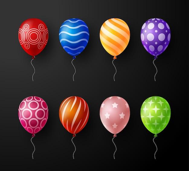 Set di palloncini colorati decorativi realistici isolati.