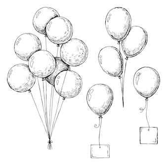 Set di palloncini diversi. palline gonfiabili su una corda. palloncini gonfiabili con una carta per il testo. schizzo