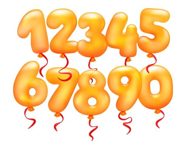 Set di palloncini realistici 3d. da 0 a 9 cifre