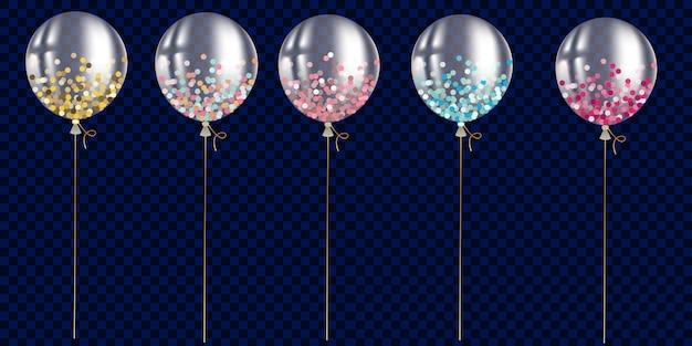 Set di palloncini trasparenti con confetti