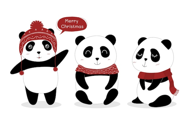 Set di panda carino.