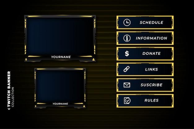 Set di pannelli twitch con modello astratto di forme gialle