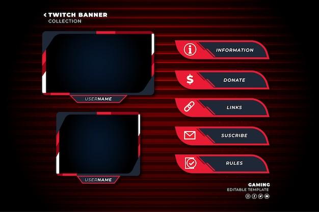Set di pannelli twitch con modello di forme astratte