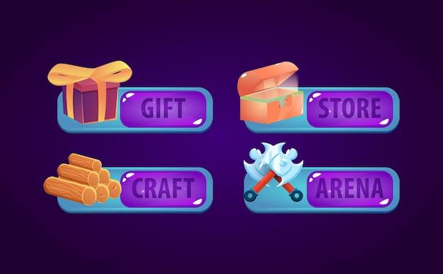 Set di pannello cornice modello fantasy gui. perfetto per i giochi 2d