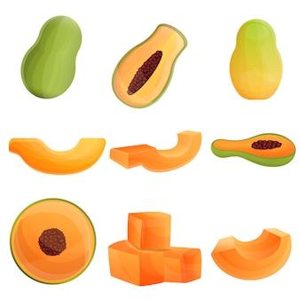 Set di papaia, stile cartoon