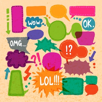 Set di parole bolla colorato