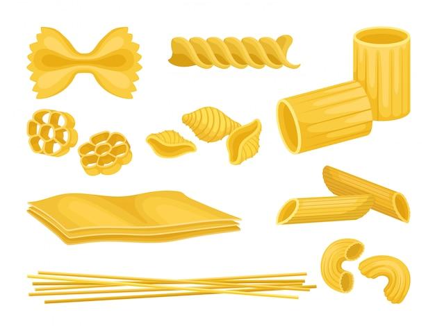 Set di pasta italiana di diverse forme. maccheroni crudi prodotto alimentare