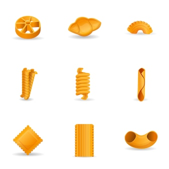 Set di pasta, stile cartoon