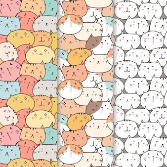 Set di pattern di gatti carino sfondo.