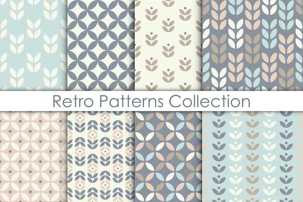 Set di pattern senza soluzione di continuità floreale in stile scandinavo.