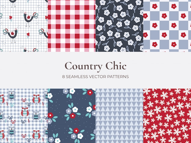 Set di pattern stile country di fiori e plaid