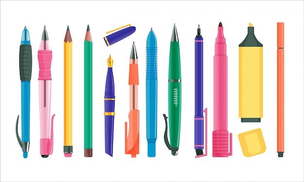 Set di penne e matite. penna a sfera isolata e inchiostro della fontana, pennarello, collezione di matite da disegno. illustrazione di vettore della cancelleria di istruzione dell'ufficio o della scuola di affari