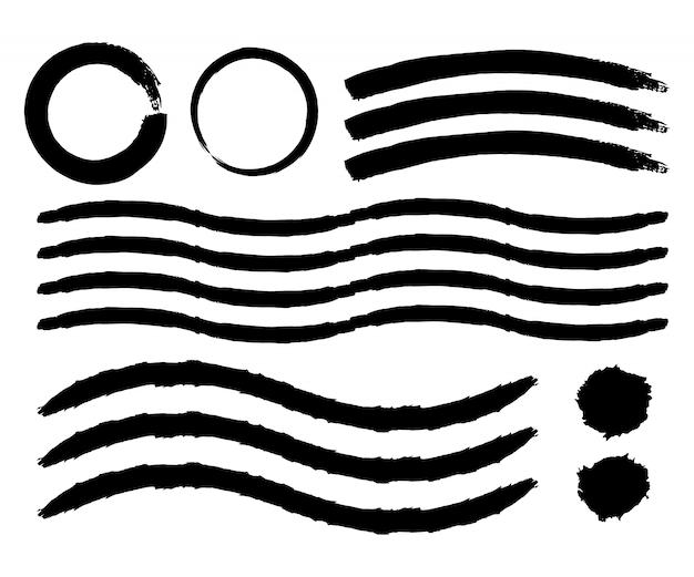 Set di pennellate dipinte a mano. tratti pennello acquerello. illustrazione vettoriale