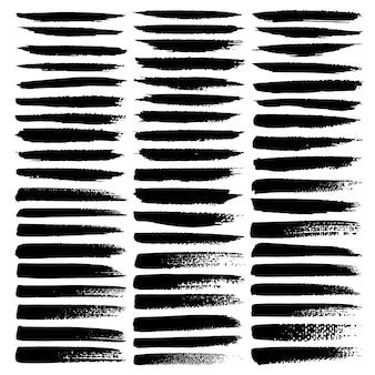 Set di pennellate, pennellate di inchiostro nero grunge.