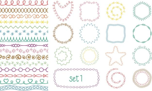 Set di pennelli decorativi colorati disegnati a mano.