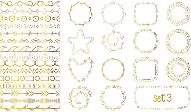 Set di pennelli decorativi gradiente dorato disegnato a mano.