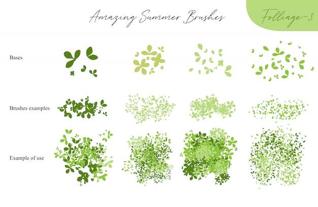 Set di pennelli di ecologia fogliame vettore estivo - sagome di foglie estive, fogliame di alberi, diversi tipi di verde isolato su bianco, illustrazione vettoriale pennello collezione natura