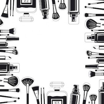 Set di pennelli trucco e cornice di prodotti