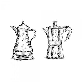 Set di pentole moka vintage illustrazione handdrawing