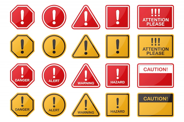 Set di pericolo, pericolo, attenzione, icona del segnale di avvertimento in diverse forme e colori