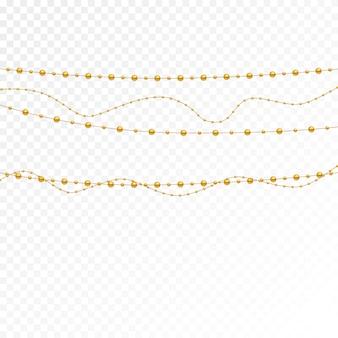 Set di perle d'oro e catene d'oro.