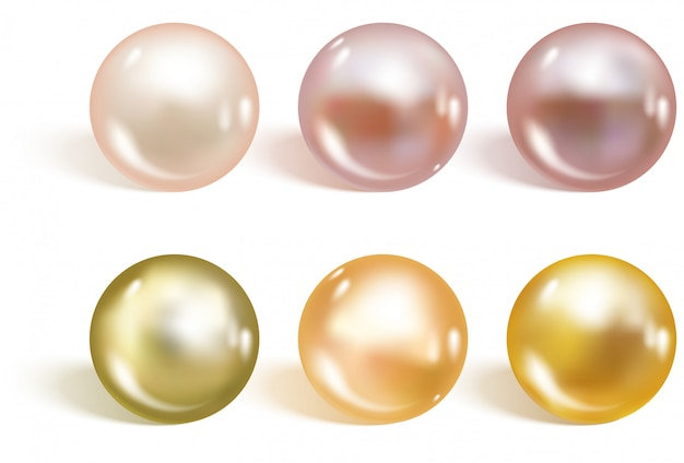 Set di perle di colori diversi realistici.