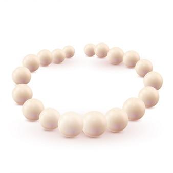 Set di perle isolato su sfondo bianco.